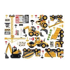 Exceart 5pcs Construction Vehicles Wall Stickers Truck Digger Cartoon Engineering Car Decals Peel And Stick Removable Boys For Bedroom Playroom Decoration Educational Toys Planet