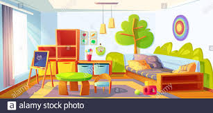 Kids Bedroom Empty Child Room Indoors Interior With Bed Montessori Toys Wooden Furniture Shelves And Equipment For Games And Studying Blackboard Stock Vector Image Art Alamy