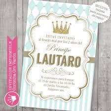 Invitacion Imprimible Corona Principe Bautismo Baby Shower 190