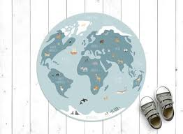 World Map Vinyl Rug With Cute Animals In Blue Kids Room Etsy