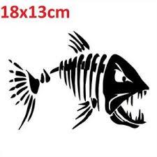 Angry Fish Car Sticker Fishing Black White Window Decal Skeleton Funny Mad Vinyl Ebay