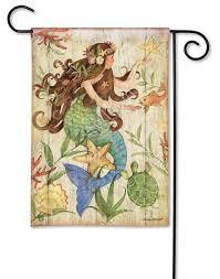 multicolor rustic mermaid garden flag