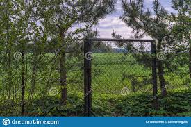 Garden Edge With A Gate On The Field Stock Photo Image Of Metal Exit 164567082