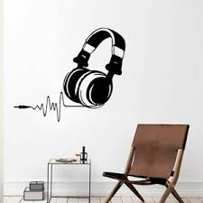 Headphones Wall Sticker Modern Music Wall Decal Home Decor Removable Stickers Ebay