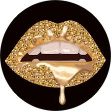 Parted Glittery Gold Lips Sticker