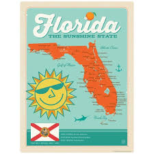 Florida Sunshine State Map Vinyl Stickerlaptop Decalbumper Etsy