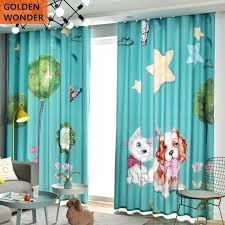 Customized Children Room Curtain Boy Girl Child Cute Cartoon Simple Shading Bedroom Drapes Kids Curtains Cat Dog Window Product Curtains Aliexpress