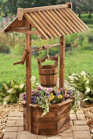 wishing well planter wood flower bucket