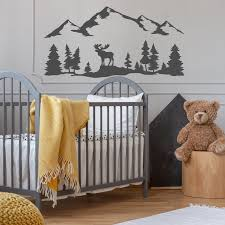Woodland Nursery Wall Decal With Pine Trees Moose Mountains Etsy