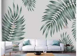 Simple Hand Painted Tropical Leaves Wall Mural Wallpaper Palm Etsy