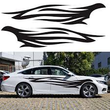 4pcs 220x33cm Diy Flame Fire Graphics Long Stripe Vinyl Decal Car Side Stickers Alexnld Com