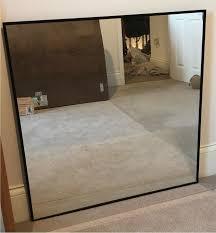 large square mirror black metal frame