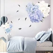 Watercolor Blue Peony Wall Decal Peonies Flower Vinyl Wall Sticker Nursery Decor Girls Kids Room Interior Home Decor Wall Stickers Aliexpress