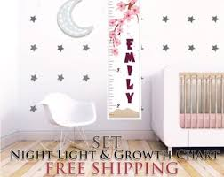 Set Night Light Growth Chart Moon Lamp Marquee Lamp Etsy