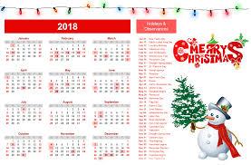 merry 2018 calendar wallpaper