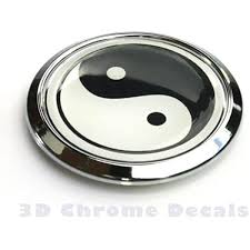 Amazon Com Yin Yang Symbol Decal Car Bike Chrome Emblem Round 3d Sticker Automotive