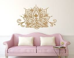 Lotus Flower Wall Decal Mandala Vinyl Sticker Decals Home Etsy Flower Wall Decals Wall Decals Decor