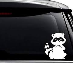 Amazon Com Cute Raccoon Animal Decal Sticker For Use On Laptop Helmet Car Truck Motorcycle Windows Bumper Wall And Decor Size 6 Inch 15 Cm Tall Color Gloss White Arts Crafts Sewing