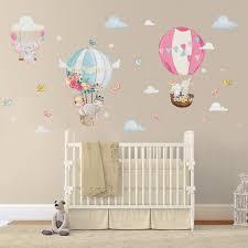 Nursery Wall Stickers Hot Air Balloons Elephant Bunny And Etsy