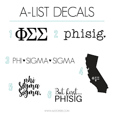 Phi Sigma Sigma Sticker Set A List Greek Designs