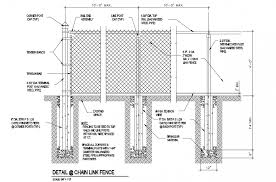 Post Or Galvanized Steel Pipe Concrete Foundation Of Chain Link Fence Elevation Dwg File Cadbull