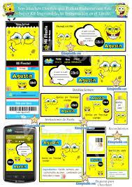 Kit Imprimible Bob Esponja Invitaciones Cards Cajas Souvenirs
