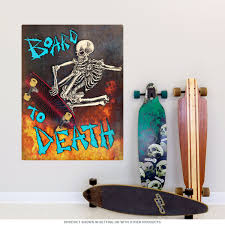 Skateboard To Death Skeleton Wall Decal At Retro Planet