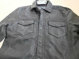 black leather shirt jacket coat xs s m
