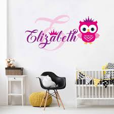 Owl Name And Initial Wall Decal Vinyl Sticker Krafmatics