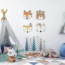 Nordic Style Wooden Cartoon Animal Crafts Kid Room Decor Kids Bedroom Walls Kids Wall Decor