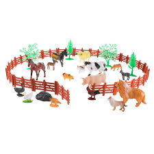 Shop Toy Farm Animal Figures And Barnyard Accessories Set Includes Fence Horses Cows Pigs Chickens And More Animals By Hey Play Overstock 22157931
