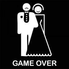 30x21cm Game Over Bride Groom Design Wedding Car Sticker Decor Ged Married Window Rear Windshield Decal