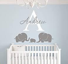 Amazon Com Elephants Custom Name Wall Decal Nursery Wall Decals Elephant Room Decoration Elephant Wall Decal Vinyl Sticker For Boys Baby