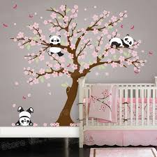 Panda Bear Cherry Blossom Tree Wall Decal For Nursery Vinyl Self Adhesive Wall Stickers Flower Tree Home Decor Bedroom Zb572 Tree Wall Decal Wall Decalsdecoration Bedroom Aliexpress