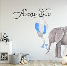 Custom Personalized Name Elephant Balloon Boys Girls Wall Sticker Nursery Decor Ebay