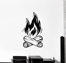 Vinyl Wall Decal Campfire Bonfire Camping Fire Fireplace Stickers Mura Wallstickers4you