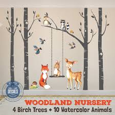 Wall Decal Nursery Fox Friends 4 Trees Woodland Watercolor Animals