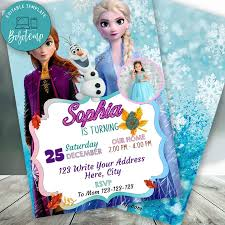 Invitacion De Cumpleanos De Elsa Anna Editable Frozen 2 Con Foto