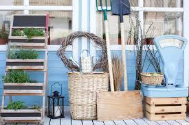 wicker baskets next to garden equipment