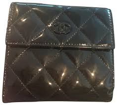 black quilted patent leather wallet