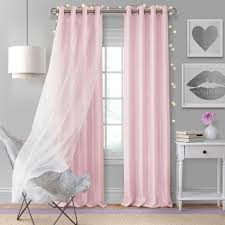 Aurora Kids Room Darkening Sheer Sparkle Overlay Curtain Panel 52 X 63 Soft Pink Elrene Home Fashions Target