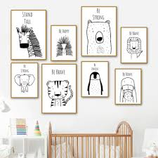 Be Happy Stand Tall Animal Sketch Drawings For Kids Bedroom Gallery Wallrus Free Worldwide Shipping