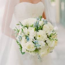 ivory and blue bridal bouquet lush