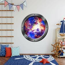 Zoomie Kids Stecker Universe Porthole Outer Space Window Wall Decal Wayfair