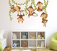 Amazon Com Monkey Wall Decal Nursery Wall Decor Boy Jungle Baby Room Mural Art Decor Vinyl Sticker 60 W X 40 H Baby