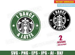 I Dance A Latte Starbucks Logo Svg Dxf Png Cheerleader Cut Files