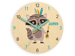 Kids Wall Clock Raccoon With Personalizen Name Wood Clock Large Clock Kids Clock Childrens Clock Kids Room Wall Art Woodland