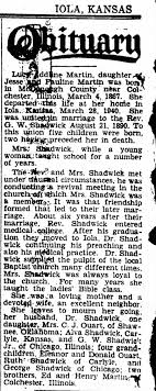 Obit for Lucy Adeline Martin-Shadwick - Newspapers.com