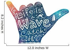 Watercolor Surfer Shaka Hand Wall Decal Wallmonkeys Com
