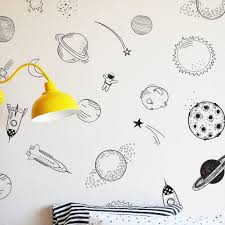 Hand Drawn Space Wall Decal Space Wall Decals Space Decals Baby Room Wall Stickers